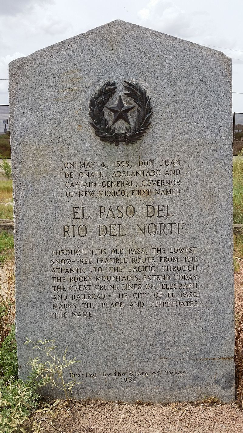 Texas Historical Marker for Don Juan De Onate and El Paso Del Rio Norte